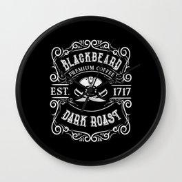 Premium Pirate Coffee Blackbeard Dark Roast Wall Clock