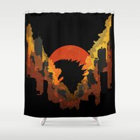 godzilla Shower Curtains featuring Godzilla by Jennifer McMahon