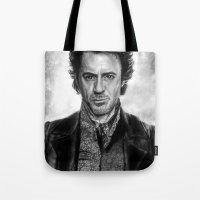 sherlock holmes Tote Bags featuring Sherlock Holmes by ChrisPastel