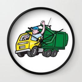 Garbage Truck Driver Waving Cartoon Wall Clock
