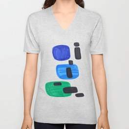 Mid Century Modern Abstract Minimalist Art Colorful Shapes Vintage Retro Style Blue Marine Green Unisex V-Neck