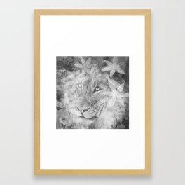 Lion in the Flowers Framed Art Print
