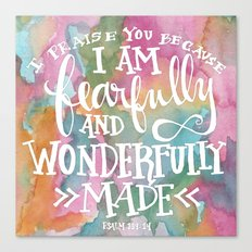 Fearfully and Wonderfully Made - Watercolor Scripture by Misty Diller Canvas Print
