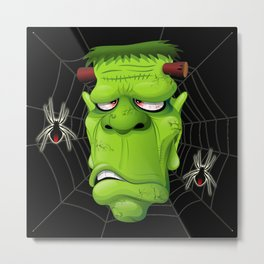 Frankenstein Ugly Portrait and Spiders Metal Print