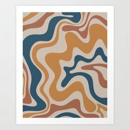 Liquid Swirl Retro Abstract Pattern Blue Ochre Rust Taupe Art Print