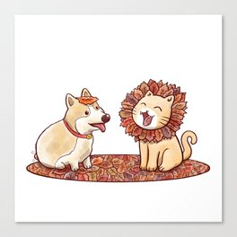 Corgi dog and a cat imitating lion with mane made of autumn leaves Canvas Print