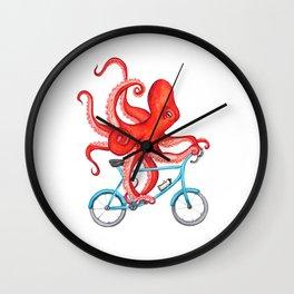 Cycling octopus Wall Clock