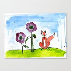 Fox with Poppies Canvas Print