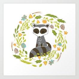 woodland raccoon folk flower wreath illustration Art Print