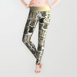 Vintage Sexy Cream and Black Girly Corsets Pattern Leggings