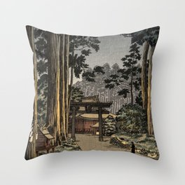 Tsuchiya Koitsu - Nikko Futarasan Temple - Japanese Vintage Woodblock Painting Throw Pillow