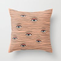 kenzo Throw Pillows featuring PEEPING TOM by Wesley Bird