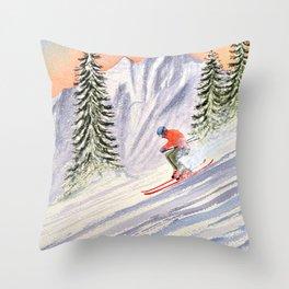 Skiing The Aspen Colorado Slopes Throw Pillow