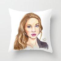 law Throw Pillows featuring J-Law by Kaitlin Polak