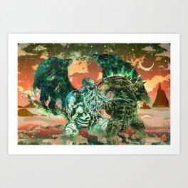 Cthulhu vs Godzilla Art Print