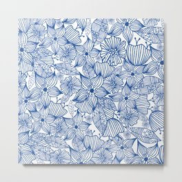 Modern royal blue white hand painted watercolor floral Metal Print
