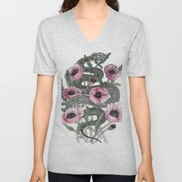 Snake and Poppies Unisex V-Neck