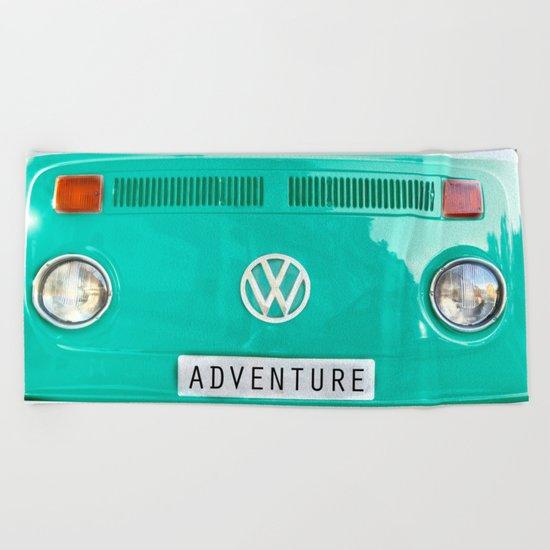 Adventure wolkswagen. Summer dreams. Green Beach Towel