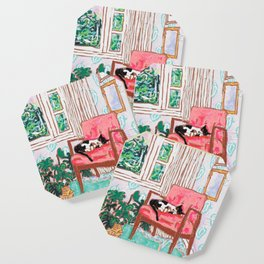 Little Naps - Tuxedo Cat Napping in a Pink Mid-Century Chair by the Window Coaster