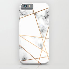 White, Gray, Gold Marble Geometric Pattern iPhone Case