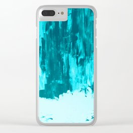 Bright Blue Snow Nights with Icicles Clear iPhone Case