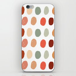Warm Autumn, minimal retro Hand drawn pastel dots pattern iPhone Skin