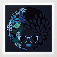 Afro Diva : Teal Art Print