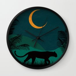 Jungle Cat in the Night Wall Clock