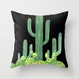 Night Desert Prickly Cactus Bunch Throw Pillow