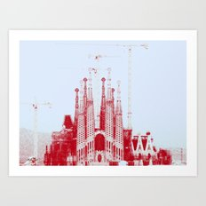 Barcelona under construction. Art Print