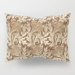 Jacobean Flower Damask, Brown and Taupe Tan Pillow Sham