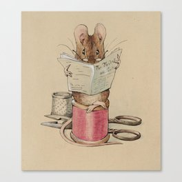 Cute little mouse reading a newspaper Canvas Print