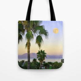 Palms on Full Moon Tote Bag