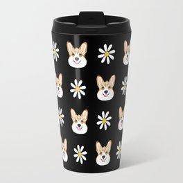 Corgi welsh corgi daisy flowers spring summer florals dog breed pet portrait by pet friendly Travel Mug
