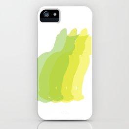 Multiple silhouette cat print - greens iPhone Case