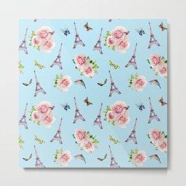 Pattern Paris and roses flowers watercolor Metal Print