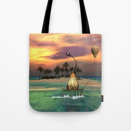 Sunset over the island Tote Bag