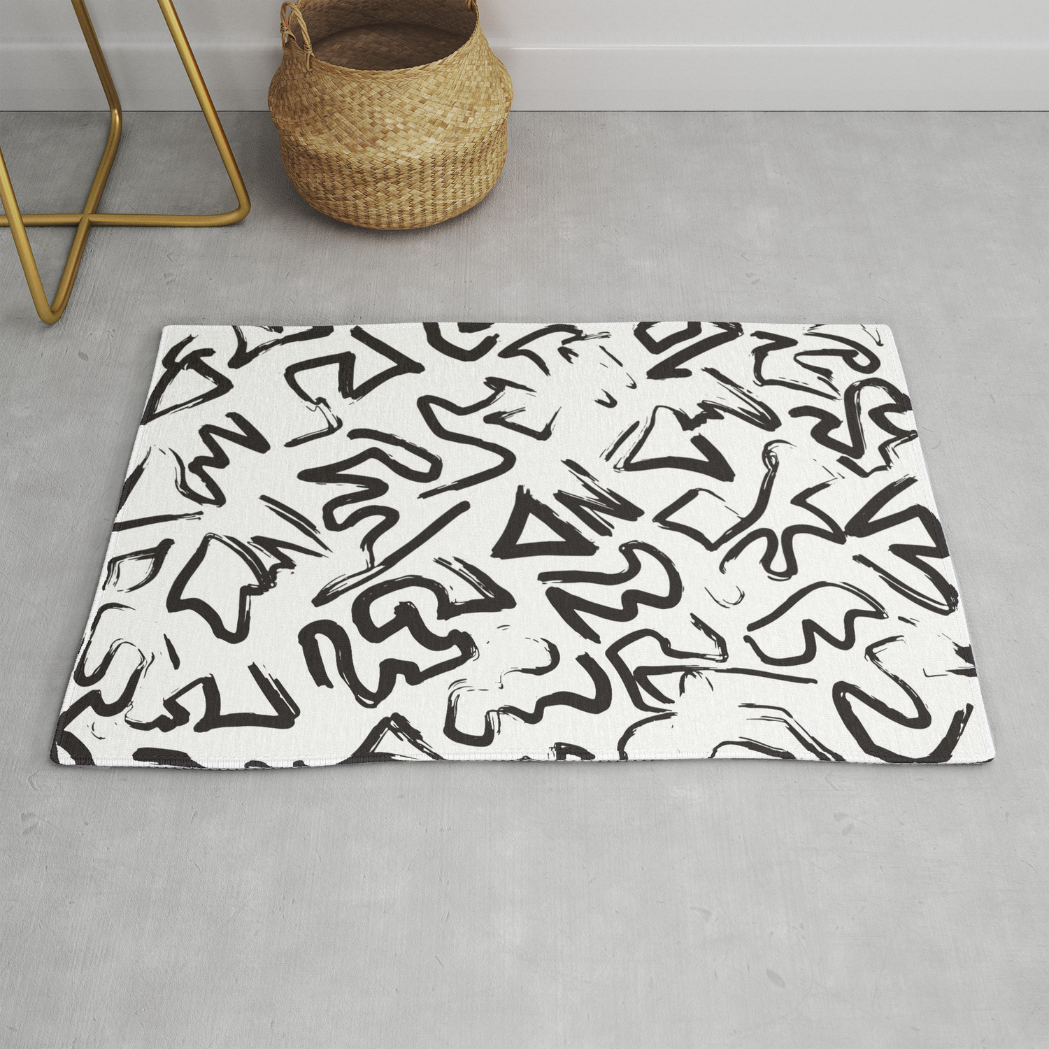 Picture of: Modern Black White Abstract Graffiti Brushstrokes Rug By Blackstrawberry Society6