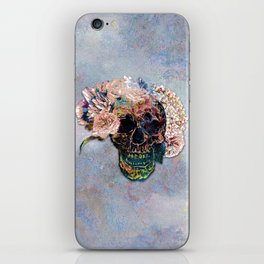 Skull Flowers - MidnightBlue iPhone Skin