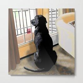 Black Lab Dog Metal Print