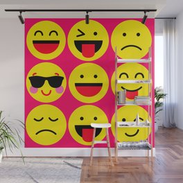 emoticons pattern Wall Mural