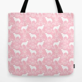 Golden Retriever floral silhouette dog silhouette pink and white minimal basic dog lover art Tote Bag