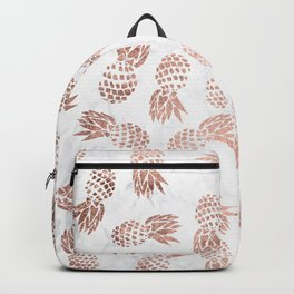 Modern faux rose gold pineapples white marble pattern Backpack