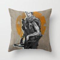 daryl dixon Throw Pillows featuring Daryl Dixon by Yan Ramirez