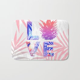 Love Pineapple Typography Tropical Boho Summer Vibes Bath Mat
