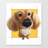 dachshund Canvas Prints featuring dachshund by joearc