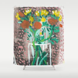 Yellow and Orange Flowers in a Vase Shower Curtain