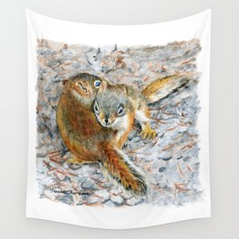 Siblings, baby red squirrels by Teresa Thompson Wall Tapestry