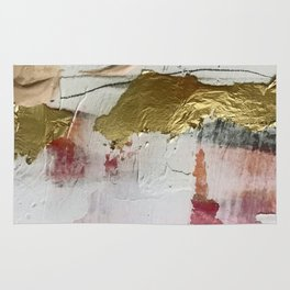 Untranslated Stars: a minimal, abstract piece in gold, pink, and white by Alyssa Hamilton Art Rug