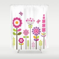 mod Shower Curtains featuring MOD GARDEN by Daisy Beatrice